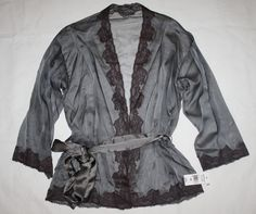 JOSIE NATORI $650 SHEER BLISS SILK CHIFFON WRAP TOP LINGERIE DARK CHARCOAL S #Natori #Robes