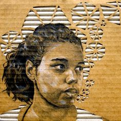 "Great use of corrugated cardboard. ""Gabby"", John Schmittau, Grade 12 PCCA Gibbs High School, #Art4Literacy"