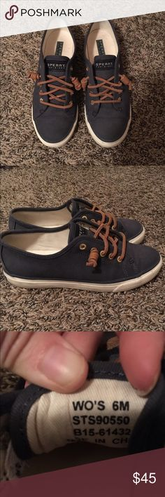 Sperry Seacoast Canvas Sneaker Size 6, navy blue, in great condition! Worn less than 10 times! I'm actually a size 6.5 but they only had size 6 available when I bought it Sperry Top-Sider Shoes Sneakers