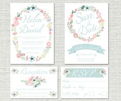 Wedding Invitation Package - Fully Customisable - Includes Save the Date & RVSP Cards - Floral Wreath Design - Print Ready Digital File