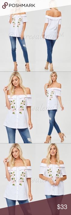 "Off Shoulder Top with Floral Embroidery Detail Off Shoulder Floral Embroidery Detail Top fits gorgeously flowy!   Fits true to size.    Size Scale: S (2-4) M (6-8) L 10-12) Description:  (S) measures 19"" across bust laying flat, (M) measures 19 1/2, (L) measures 20""  Fabric:  Cotton/Polyester blend   PRICE IS FIRM UNLESS BUNDLED!!  YOU MAY BUNDLE FOR A DISCOUNT!! TheresaLena Boutique Tops Blouses"