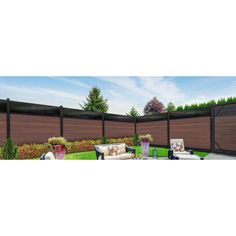 Veranda Euro Style 6 ft. H x 6 ft. W Acrylic Top Black Rose Aluminum/Composite Horizontal Fence Section