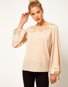 Blouse With Floral Embroidery And Balloon Sleeve