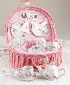 Delightful children's tea set with pink rose motif.Made of porcelain and packaged in a lined basket for storage. and teacups Rosen Tee, Childrens Tea Sets, Tea Set Kids, Café Chocolate, High Tea, Afternoon Tea, Wicker Baskets, Picnic Baskets, Kitsch