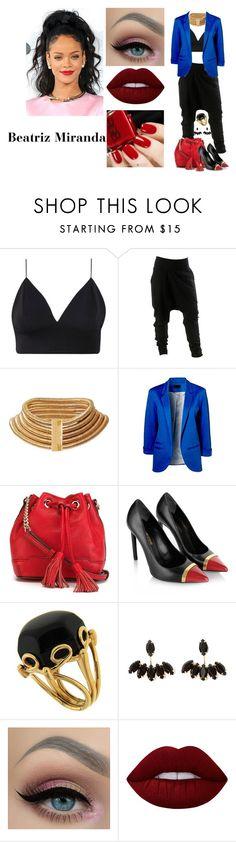"""Sem título #277"" by biailove1d on Polyvore featuring moda, Balmain, Rebecca Minkoff, Yves Saint Laurent, Valentin Magro e Lime Crime"