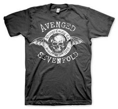 Avenged Sevenfold Origins Tee - Take it back to the beginning with this 100% cotton Avenged Sevenfold Origins T-Shirt with skull and bat wings design.