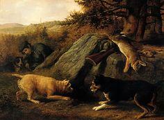 Thomas Hewes Hinckley (1813–1896). The Rabbit Hunters, 1850. The Metropolitan Museum of Art, New York.