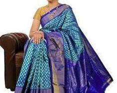 Pure Uppada Silk Saree with Ikkat Pochampally Border Blue Ikkat Pattu Sarees, Pochampally Sarees, Soft Silk Sarees, Cotton Saree, Lakshmi Sarees, Designer Silk Sarees, Ethnic Outfits, Formal Looks, Party Wear Sarees