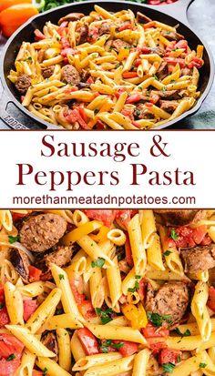 Sausage Recipes For Dinner, Sausage Pasta Recipes, Italian Sausage Pasta, Italian Sausage Recipes, Spicy Sausage Pasta, Healthy Sausage Recipes, Sausage Meals, Sausage Sauce, Italian Pasta Dishes