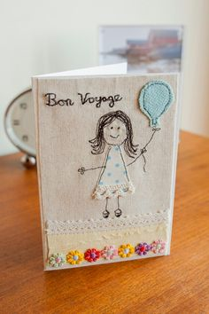 Freehand machine embroidery farewell/bon voyage card