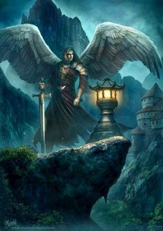 Angels and Demons Fantasy World, Dark Fantasy, Fantasy Art, Angels Among Us, Angels And Demons, Fantasy Creatures, Mythical Creatures, Guerrero Dragon, Celestial