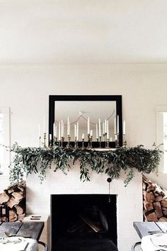 Magnified Candlelight Christmas Fireplace Garlandchristmas Decorationsmantle