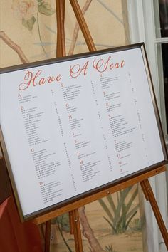 Wedding Seating Chart - so neat and organized.