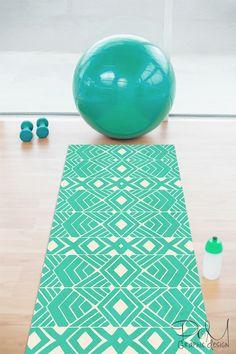 Kess InHouse Kess Original Happy Earth Blue Green Yoga Mat 72 X 24