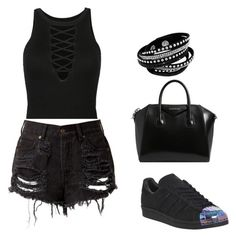 """Total black"" by diana-diiana on Polyvore featuring moda, adidas, Givenchy, casualoutfit, summerstyle e totalblack"
