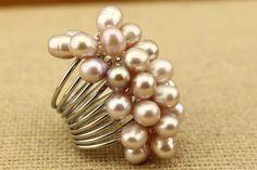 Pearl ring by DIYArtMall on Etsy,$4 Ring Earrings, Pearl Earrings, Pearl Ring, Statement Rings, Vintage Rings, My Etsy Shop, Wedding Rings, Engagement Rings, Pearls