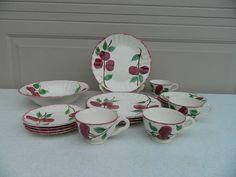 17 Piece Blue Ridge Southern Potteries Crab Apple Dinnerware Set | eBay