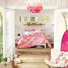 Surfers Point Tie Dye Duvet Cover + Sham, Pink Coral // the perfect room for the surf lover