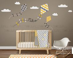 Nursery wall decal kids wall sticker - Kite decal with custom name decal by NouWall on Etsy https://www.etsy.com/listing/237027578/nursery-wall-decal-kids-wall-sticker