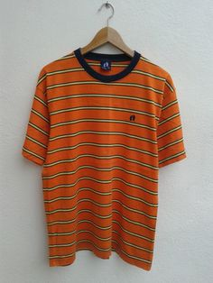 Vintage! HANG TEN Original Striped polo shirt long sleeve shirt EGiUO6K