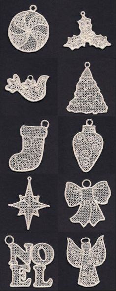 FSL Christmas Ornaments in White Embroidery Machine Design Details