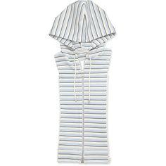 Veronica Beard Striped Zip-Front Hoodie Dickey ($215) ❤ liked on Polyvore featuring tops, hoodies, striped hoodie, white sleeveless top, zip hoodies, zippered hooded sweatshirt and white hoodie