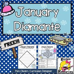 January Diamante Poem- Writing, Poetry 2nd, 3rd, 4th, 5th Homework, Printables, Literacy Center Ideas...Brainstorm words that are easy to find antonyms to go along with them! Ex. Winter