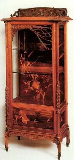 Art Nouveau China Cabinet by Émile Gallé Unique Furniture, Vintage Furniture, Furniture Decor, Furniture Design, Design Retro, Art Nouveau Furniture, Art Nouveau Design, French Art, Glass Design