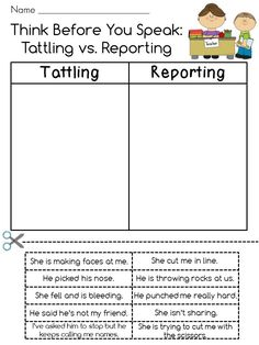 From another pinner: Tattling vs. Reporting Cut and Paste! If tattling drives you bananas, this is a GREAT activity to remind kids the difference and it's fun too! Elementary School Counseling, School Social Work, School Counselor, School Classroom, Elementary Schools, Classroom Ideas, Primary School, Tattling Vs Reporting, Classroom Behavior Management