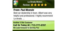 Best car dealership in town. Albert was very helpful and professional. I highly recommend...
