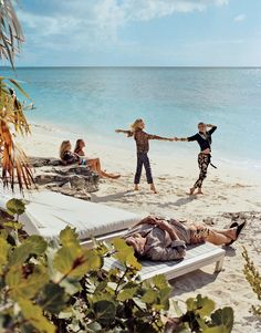 Keith Richards and Patti Hansen's family members frolic by the water at their Turks and Caicos retreat. Photographed by Bruce Weber, Vogue, August 2012.