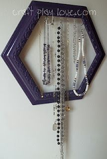 my first picture frame necklace display upcycle - yay me <3   http://craftplaylove.blogspot.com/2012/01/necklaces-were-framed-framed-i-say.html