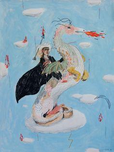 Alexandra Levasseur (b. 1982, Shawinigan, Qc, Canada) - Trussardi, 2014 Acrylics, Pencils on Paper