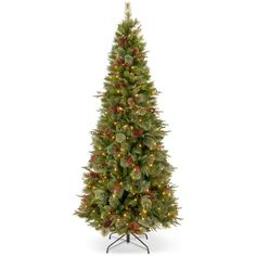 """National Tree Company 7.5' """"Feel-Real"""" Colonial Slim Hinged Christmas... ($800) ❤ liked on Polyvore featuring home, home decor, holiday decorations, no color, holiday decor, holiday home decor and national tree company"""