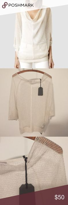 NWT all saints top Brand-new lightweight sweater. Never worn. Slightly oversized. 76% viscose 24%. Polyester. All Saints Sweaters