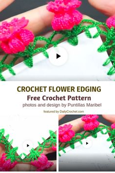 Spectacular Crochet Flower Edging For Just About Any Project - Knit And Crochet Daily Crochet Art, Learn To Crochet, Crochet Shawl, Crochet Crafts, Crochet Doilies, Crochet Flowers, Crochet Stitches, Crochet Projects, Free Crochet