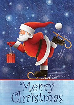 Toland  Skating Santa  Decorative Merry Christmas Winter Holiday Blue USAProduced Garden Flag -- This is an Amazon Affiliate link. Continue to the product at the image link.