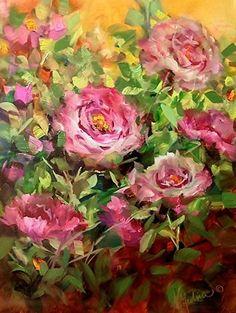 Memory Garden Pink Roses by Nancy Medina Oil ~ 16 x 12