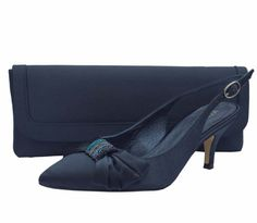 Menbur Navy Satin & Diamante Low Heel Ladies Shoes. #navyeveningshoes