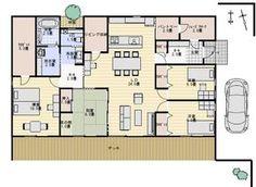 坪庭のある収納の多い平屋の間取り図 | 平屋間取り Living Spaces, House Plans, Floor Plans, Flooring, How To Plan, Yahoo, Projects, Log Projects, Blue Prints