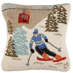 Gondola Run Chandler 4 Corners Hooked Pillow SKU: Hand-hooked pillow, square, natural wool, Zippered velveteen backing, poly-fill. Wool Pillows, Decorative Throw Pillows, Wool Rugs, Cushions, Shabby Chic Decor, Vintage Decor, Pillow Inserts, Pillow Covers, Ski Decor