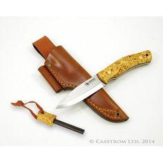 Casström No 10 Flachschliff Swedish Forest Knife SKF 14C28N stabilisierte Maserbirke Feuerstahl 13118