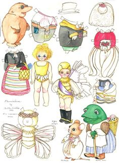 Thumbelina 1500 free paper dolls at Arielle Gabriel's International Paper Doll Society...