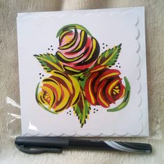 Canal boat traditional roses hand painted greetings card