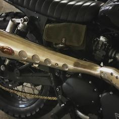 """Trying out this """"new"""" vintage ammo pouch #details #rambler  #triumph #bonneville #custom #getlost #justgo #california"""