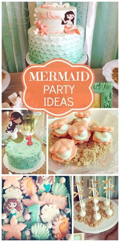 Gorgeous mint and peach mermaid girl birthday party with an ombre cake and lovely party decorations!  See more party ideas at CatchMyParty.com!