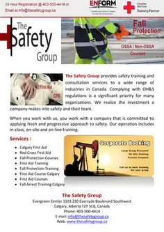 The Safety Group provides safety training and consultation services to a wide range of industries in Canada.