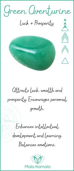 Pin To Save, Tap To Shop The Gem. What is the meaning and crystal and chakra healing properties of green aventurine? A stone for luck and prosperity. Mala Kamala Mala Beads - Malas, Mala Beads, Mala Bracelets, Tiny Intentions, Baby Necklaces, Yoga Jewelry, Meditation Jewelry, Baltic Amber Necklaces, Gemstone Jewelry, Chakra Healing and Crystal Healing Jewelry, Mala Necklaces, Prayer Beads, Sacred Jewelry, Bohemian Boho Jewelry, Childrens and Babies Jewelry.