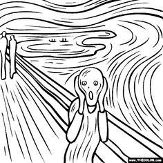 100% free coloring page of Edvard Munch's Painting - The Scream. Color in the painting and print it out, save it to your library or email it to your friends.