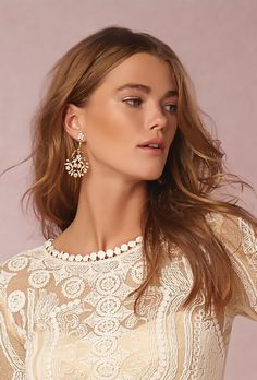 slightly shimmering bridal makeup look | Lea Tunic from BHLDN
